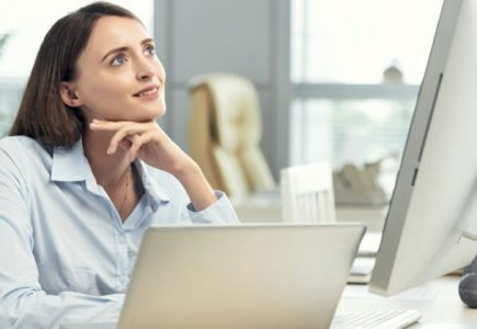 optimistic woman dating during lockdown remote laptop